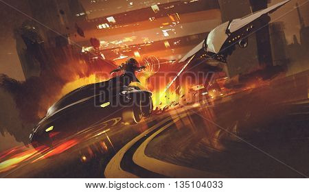 chase scene of spacecraft chasing futuristic car on highway, illustration