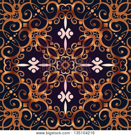 Colorful ethnic patterned background. Arabesque ornament Vintage decorative elements.