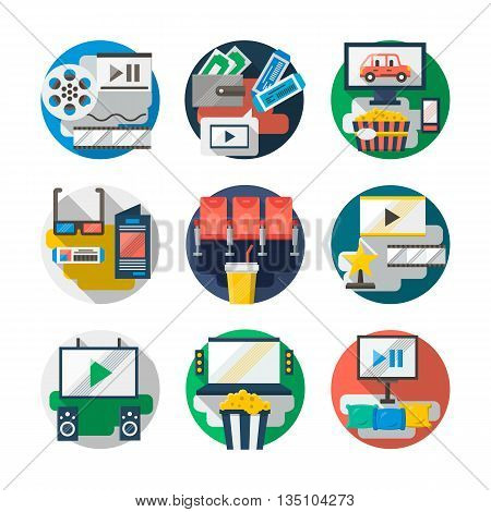 Cinema and films, home video, leisure and entertainment. Watching movies theme. Set of round detailed flat color vector icons. Web design elements for business, site, mobile app.