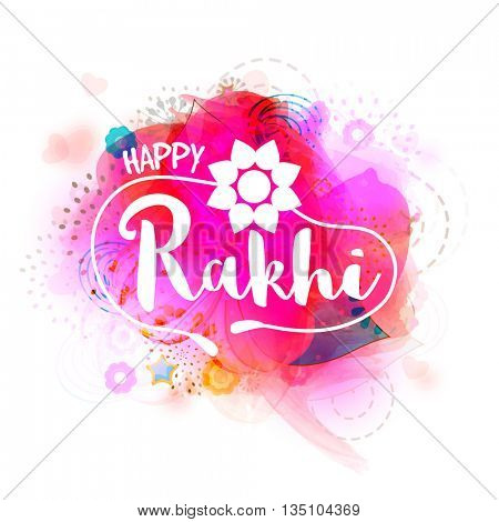 Creative Text Happy Rakhi on stylish abstract background, Elegant Greeting Card design for Indian Traditional Festival celebration.