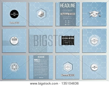 Set of 12 creative cards, square brochure template design. Chemistry pattern, hexagonal design vector illustration.
