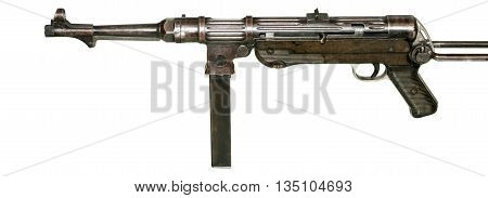 German MP-38 submachine gun isolated on white