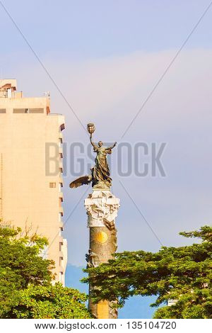 Guayaquil Ecuador - April 17 2016: On the column Monument to the Ecuador independence heroes in Guayaquil.