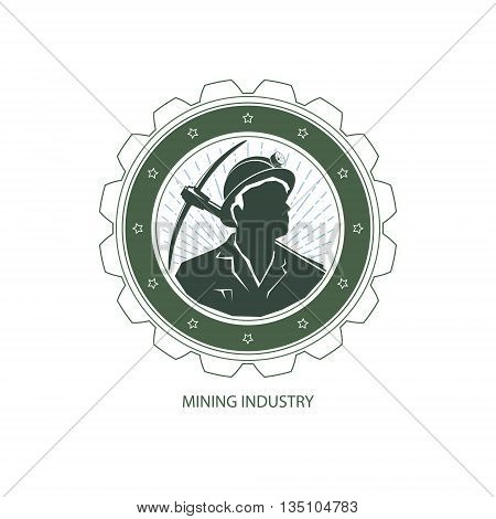 Mining Industry, Logo Design Element, Miner Holding a Pickax on a Background of the Sunburst ,Label and Badge Mine Shaft, Vector Illustration