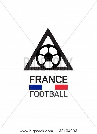 Football or soccer  logo. French tricolor. The concept of soccer logo, symbol, sign. triangular pyramid and ball