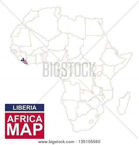Africa Contoured Map With Highlighted Liberia.