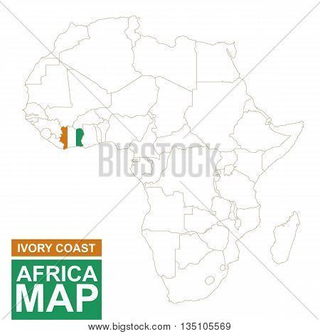 Africa Contoured Map With Highlighted Ivory Coast.