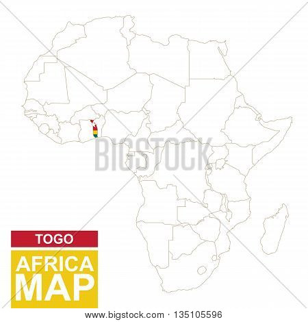 Africa Contoured Map With Highlighted Togo.