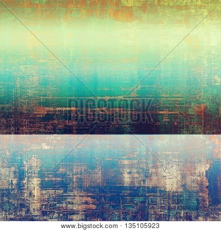 Old grunge vintage background or shabby texture with different color patterns: yellow (beige); brown; green; blue; red (orange); cyan