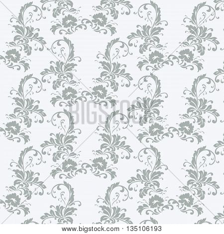 Vintage floral pattern with peony flowers. Vector