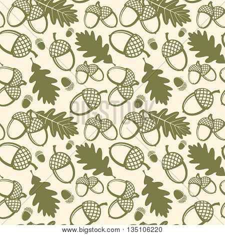 Oak leaves and acorns vector seamless pattern. Pattern seamless, oak acorn, nature plant oak leaf, flora oak leaves illustration
