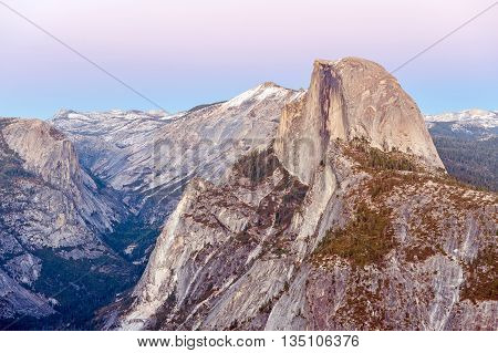 Half Dome Rock in Yosemite National Park at sunset