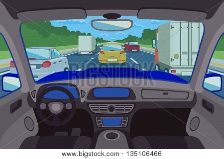 Highway, road viewed inside automobile. Highway inside automobile, road inside automobile, transportation traffic inside automobile. Vector illustration