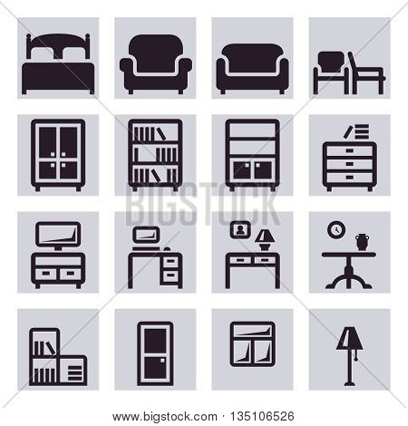 Furniture vector icons.Table furniture, chair furniture, bed furniture, interior illustration