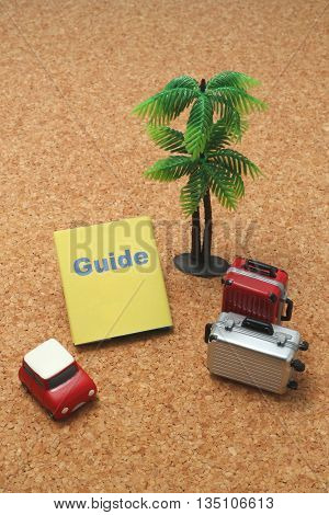 Car, suitcases, guide book, and palm trees.
