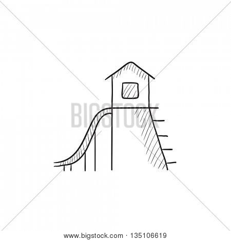 Playhouse with slide vector sketch icon isolated on background. Hand drawn Playhouse with slide icon. Playhouse with slide sketch icon for infographic, website or app.