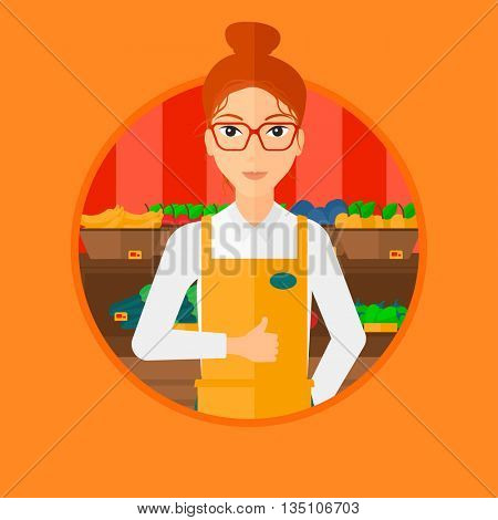 Female supermarket worker giving thumb up while standing on the background of shelves with vegetables and fruits in supermarket. Vector flat design illustration in the circle isolated on background.