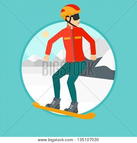 Sportswoman snowboarding on the background of snow capped mountain. Woman snowboarding in the mountains. Snowboarder in action. Vector flat design illustration in the circle isolated on background.