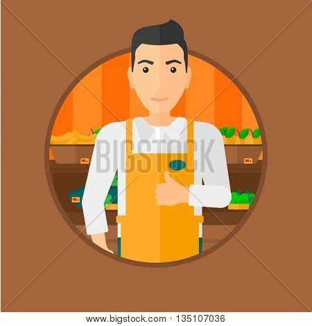 Male supermarket worker giving thumb up while standing on the background of shelves with vegetables and fruits in supermarket. Vector flat design illustration in the circle isolated on background.