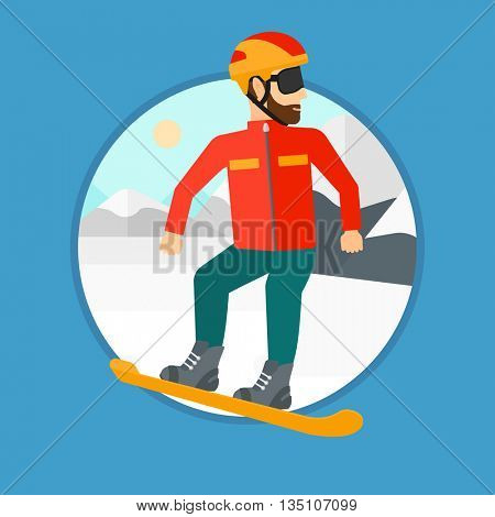 A hipster man with the beard snowboarding on the background of snow capped mountain. Young man snowboarding in the mountains. Vector flat design illustration in the circle isolated on background.