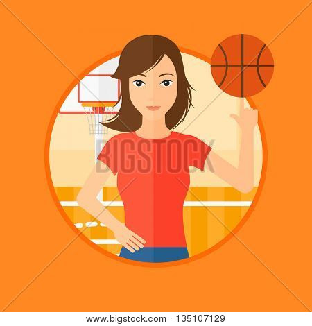 Professional sportswoman spinning basketball ball on her finger. Young basketball player standing on the basketball court. Vector flat design illustration in the circle isolated on background.