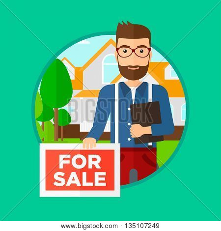 Real estate agent offering the house. Male broker with placard for sale and documents in hands standing in front of the house. Vector flat design illustration in the circle isolated on background.