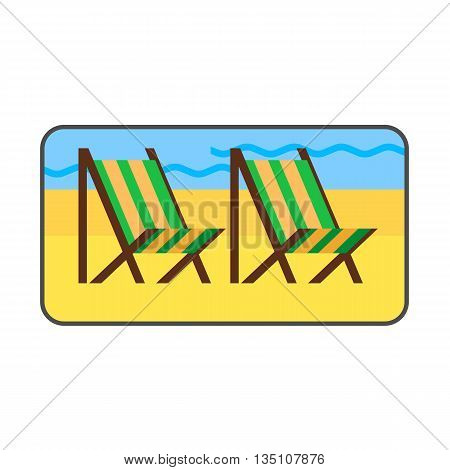 Beach vector icon. Colored line icon of sandy beach with two beach chairs