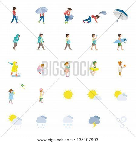 People and Weather color vector icons collection