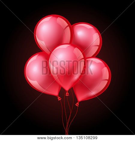Festive red balloons on isolated plaid transparent background. Balloon red, celebration balloon, air balloon decoration. Vector illustration