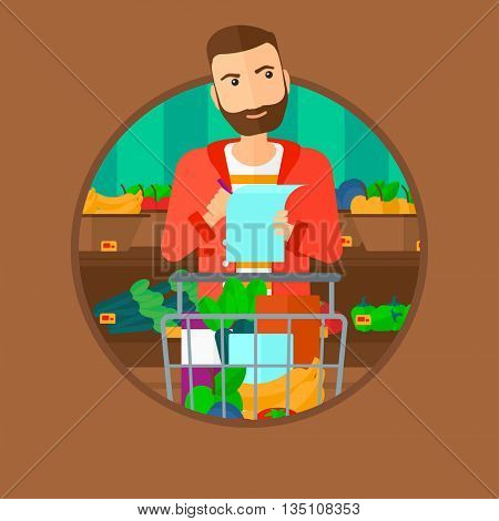 Thoughtful man standing at the supermarket with supermarket trolley full with products and holding a shopping list in hands. Vector flat design illustration in the circle isolated on background.