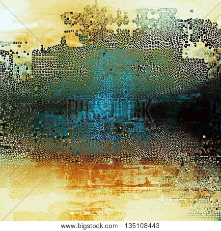 Grunge scratched background, abstract vintage style texture with different color patterns: yellow (beige); brown; blue; red (orange); black; white
