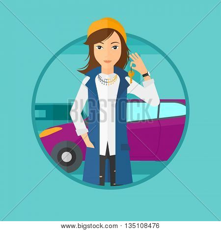 Woman holding keys to her new car. Happy young woman showing key to her new car on the background of car shop. Woman buying car. Vector flat design illustration in the circle isolated on background.