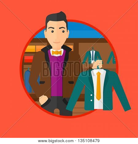 Man holding hanger with suit jacket and shirt. Man choosing suit jacket at clothing store. Shop assistant offering suit jacket. Vector flat design illustration in the circle isolated on background.