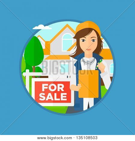 Female real estate agent signing a contract. Young real estate agent standing in front of the house with placard for sale. Vector flat design illustration in the circle isolated on background.