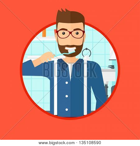 A hipster man with the beard brushing his teeth with a toothbrush in bathroom. Smiling man holding toothbrush. Vector flat design illustration in the circle isolated on background.