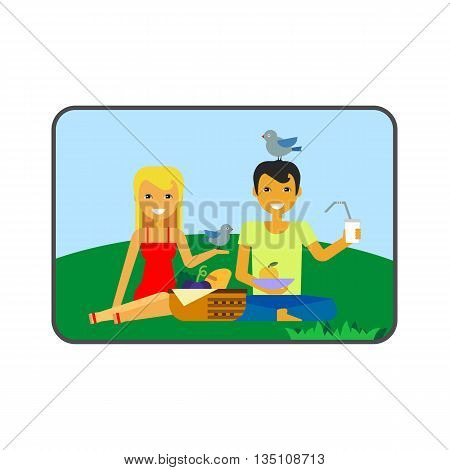 Couple on picnic vector icon. Colored line icon of happy woman and man on picnic
