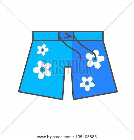 Hawaiian shorts vector icon. Colored line icon of shorts with floral pattern