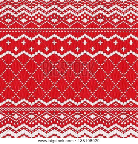 Scandinavian knitted pattern or nordic knitted ornament. Red knitted pattern vector