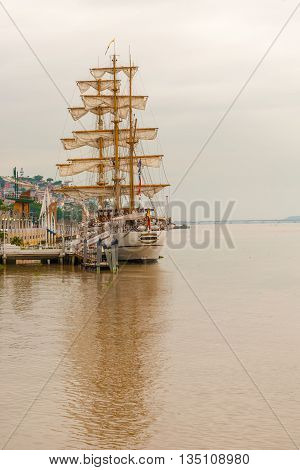 Sailboat At Guayas River In Guayaquil, Ecuador.