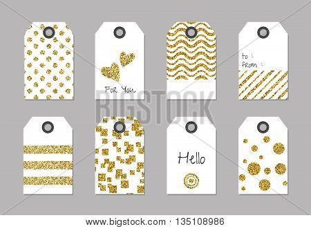Tags with glitter texture. Gift or price glitter tags. Label price glitter, glitter tag sale, template glitter card, vector illustration
