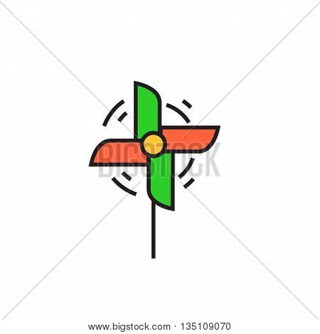 Pinwheel vector icon. Colored line icon of childs toy