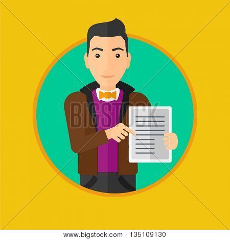 Young man holding a tablet computer with text on a screen. Businessman with tablet computer in hands. Man showing tablet computer. Vector flat design illustration in the circle isolated on background.