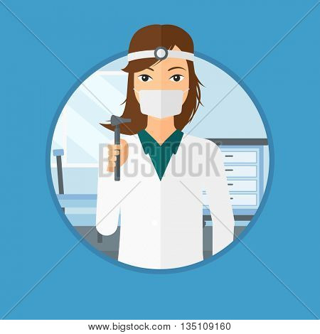Ear nose throat doctor standing in the medical office. Doctor with tools used for examination of ear, nose, throat. Vector flat design illustration in the circle isolated on background.
