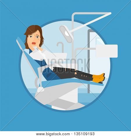 Frightened patient at dentist office. Scared young patient in dental clinic. Afraid woman sitting in dental chair. Vector flat design illustration in the circle isolated on background.