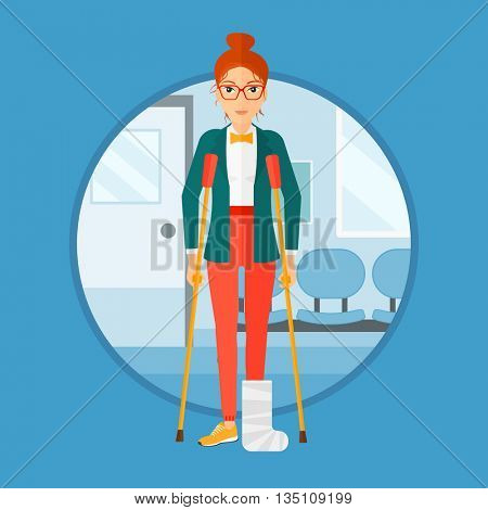 An injured woman with leg in plaster. Young woman with broken using crutches. Woman with fractured leg in the hospital corridor. Vector flat design illustration in the circle isolated on background.