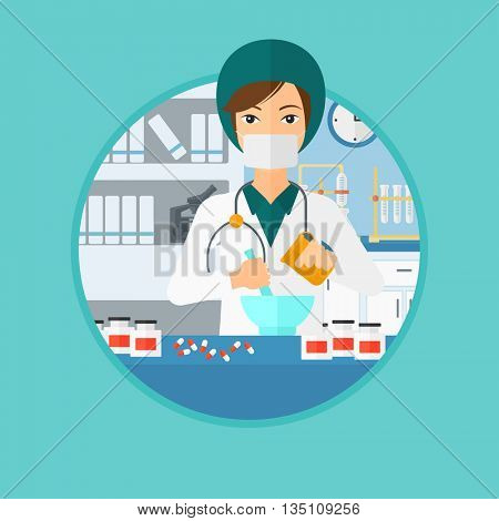 Pharmacist using mortar and pestle for preparing medicine in the laboratory. Pharmacist mixing medicine at the hospital pharmacy. Vector flat design illustration in the circle isolated on background.