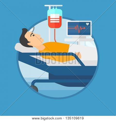 Young man lying in bed at hospital ward. Patient with heart rate monitor and equipment for blood transfusion in medical room. Vector flat design illustration in the circle isolated on background.