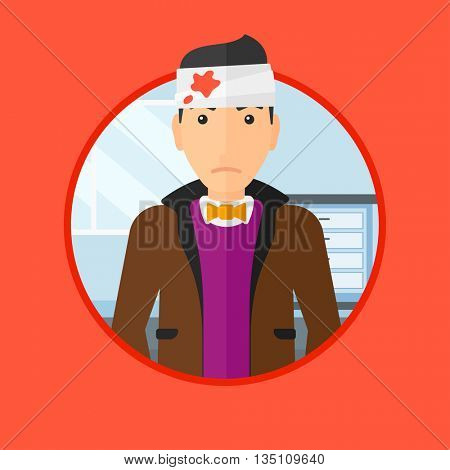A man with bandages over his head. Sad man with a bandaged head in the medical office. Young wounded man in the hospital. Vector flat design illustration in the circle isolated on background.