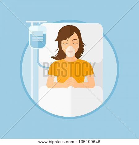 Young woman lying in hospital bed with oxygen mask. Woman during medical procedure with drop counter at medical room. Vector flat design illustration in the circle isolated on background.