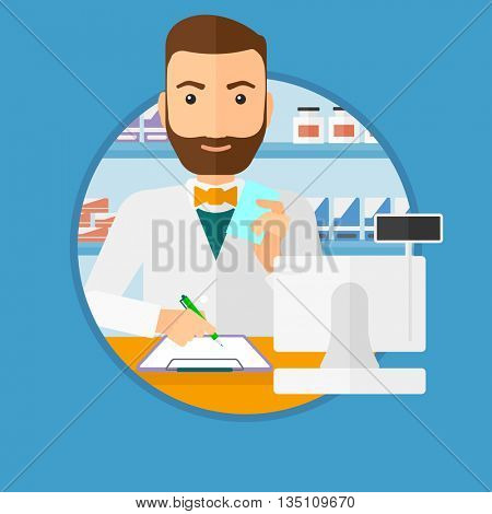 Male pharmacist writing on clipboard and holding prescription in hand. Pharmacist in medical gown standing at pharmacy counter. Vector flat design illustration in the circle isolated on background.